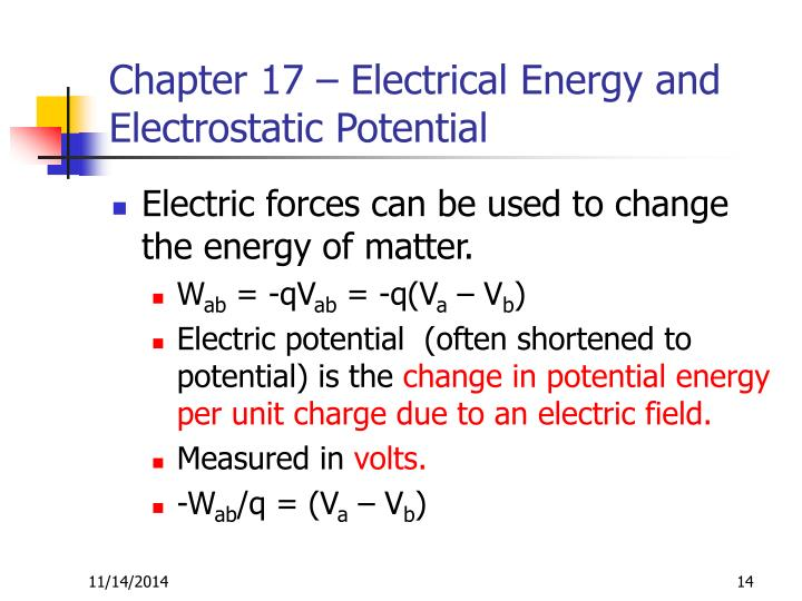 Chapter 17 – Electrical Energy and Electrostatic Potential