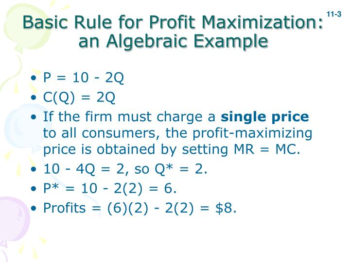 Basic Rule for Profit Maximization: an Algebraic Example