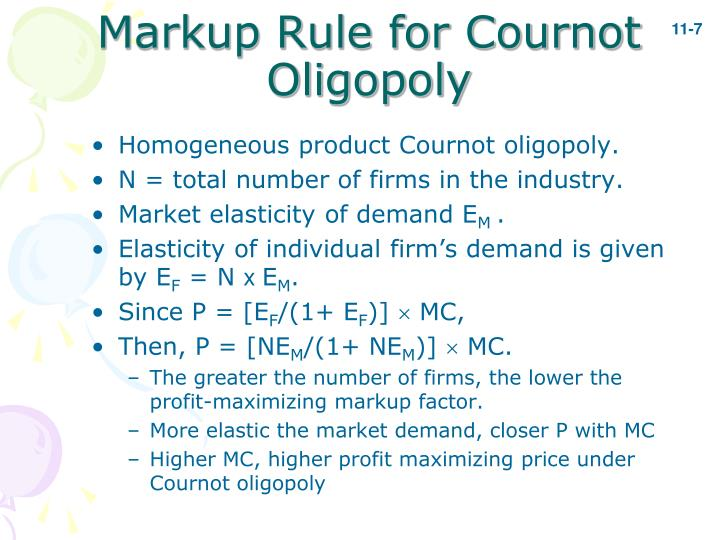 Markup Rule for Cournot Oligopoly