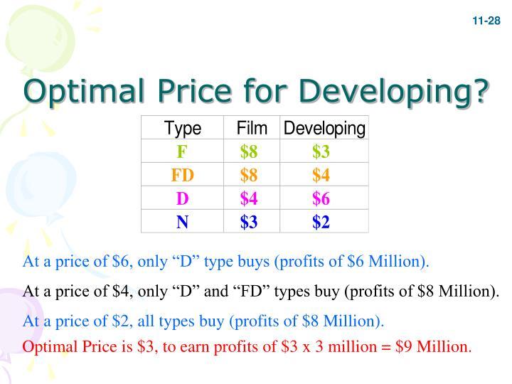 Optimal Price for Developing?