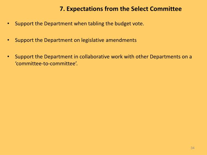 7. Expectations from the Select Committee