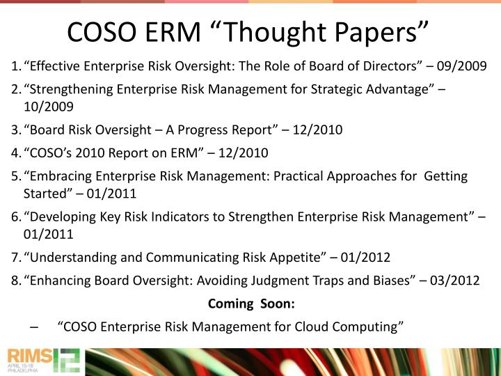 "COSO ERM ""Thought Papers"""