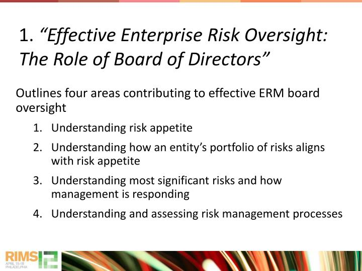 Outlines four areas contributing to effective ERM board oversight