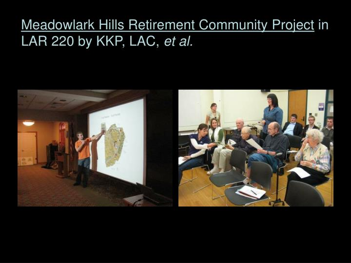 Meadowlark hills retirement community project in lar 220 by kkp lac et al