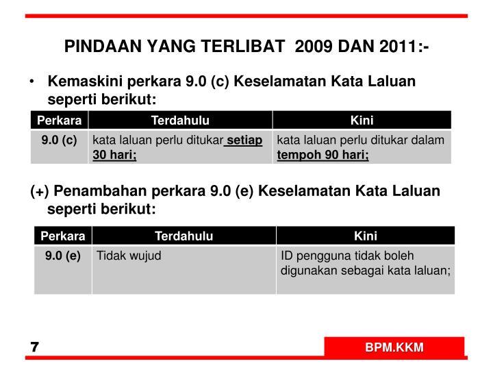 PINDAAN YANG TERLIBAT  2009 DAN 2011:-