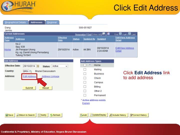 Click Edit Address