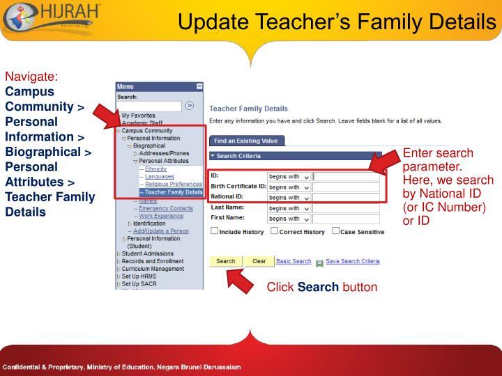 Update Teacher's Family Details