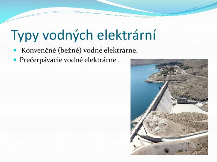 Typy vodných elektrární