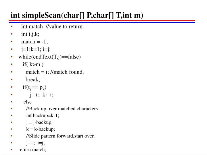 int simpleScan(char[] P,char[] T,int m)