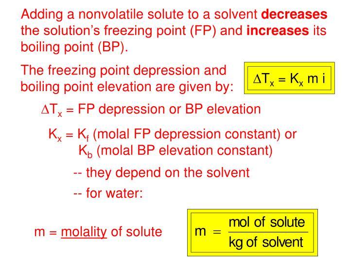 Adding a nonvolatile solute to a solvent