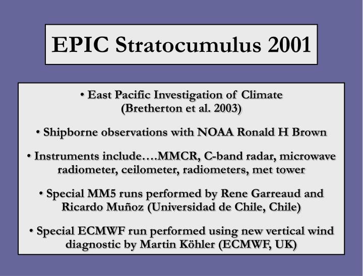 EPIC Stratocumulus 2001