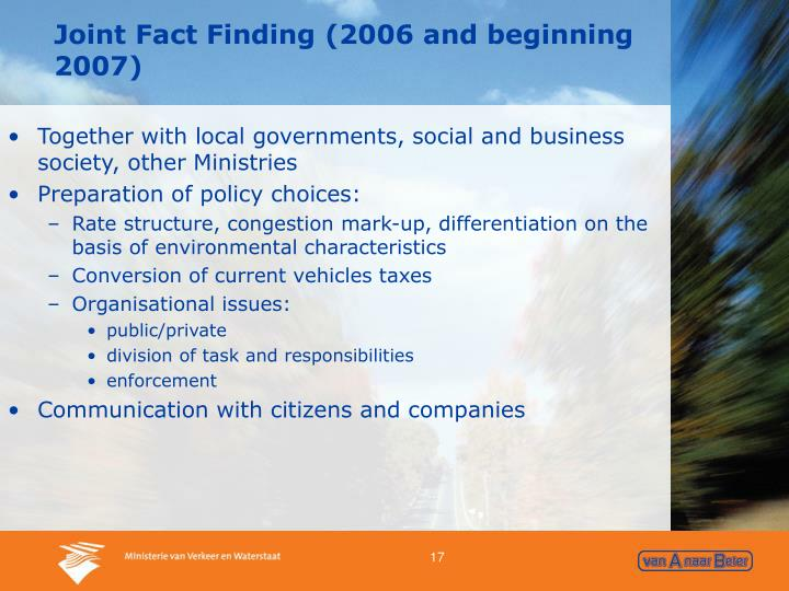 Joint Fact Finding (2006 and beginning 2007)
