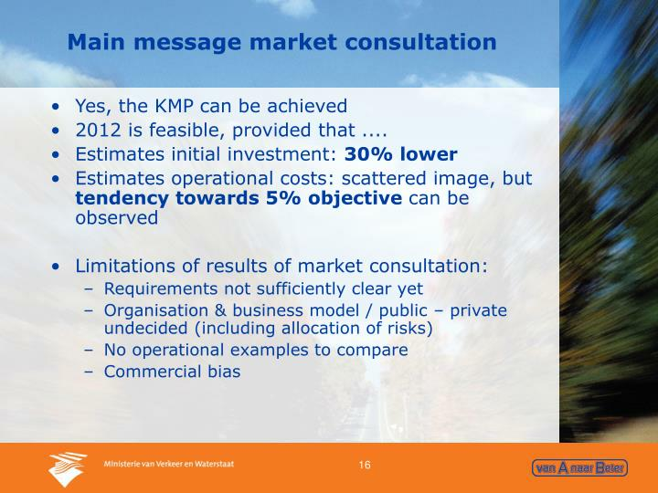 Main message market consultation