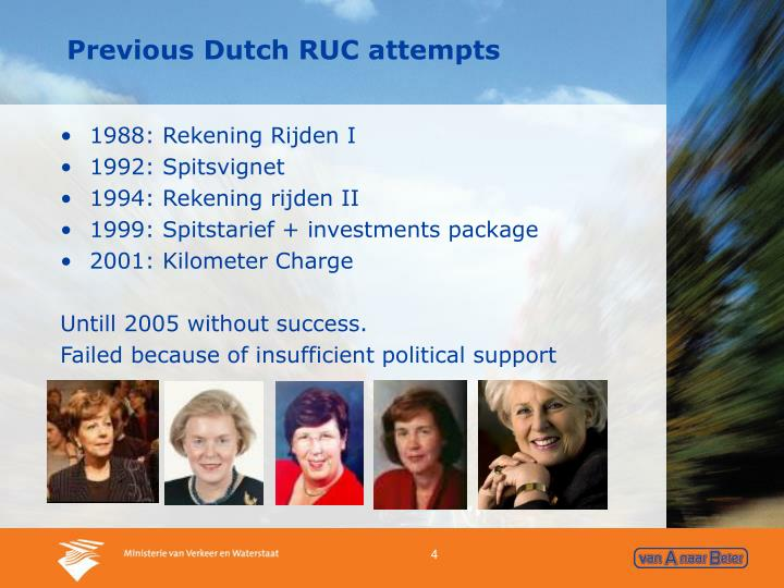 Previous Dutch RUC attempts