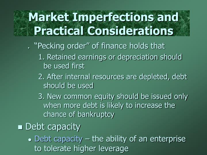 Market Imperfections and Practical Considerations