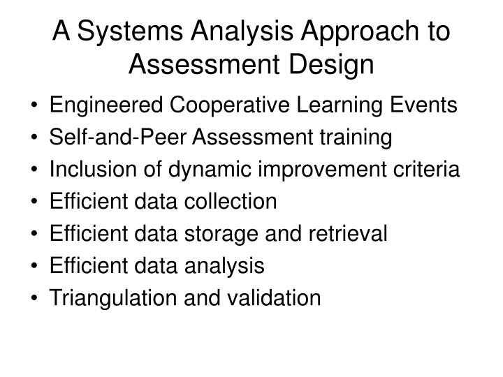 A Systems Analysis Approach to Assessment Design