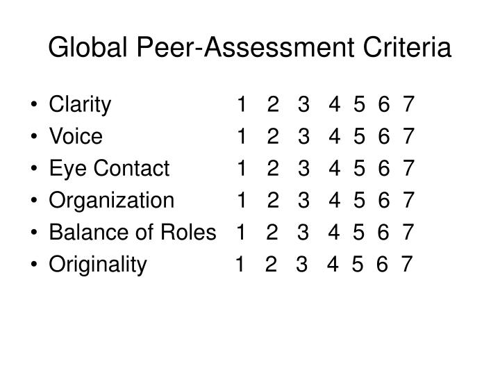 Global Peer-Assessment Criteria