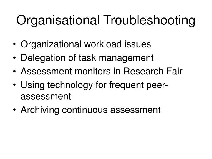 Organisational Troubleshooting