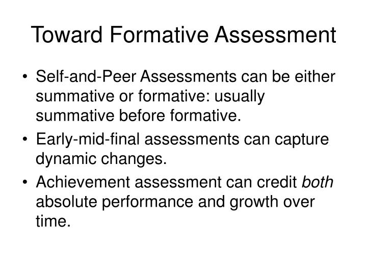 Toward Formative Assessment