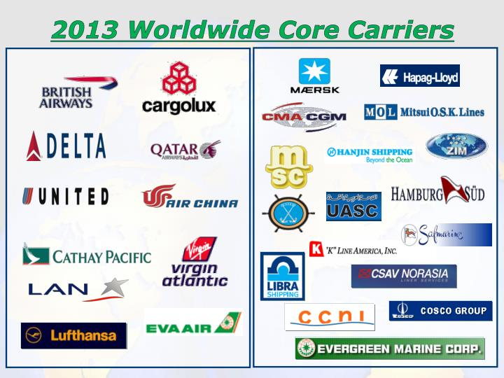 2013 Worldwide Core Carriers