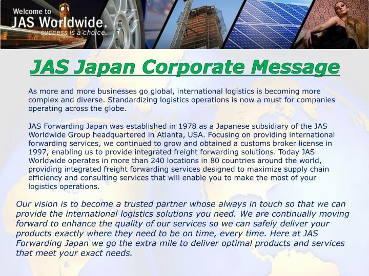 JAS Japan Corporate Message