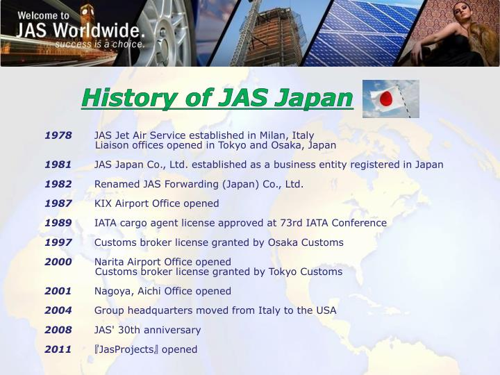 History of JAS Japan
