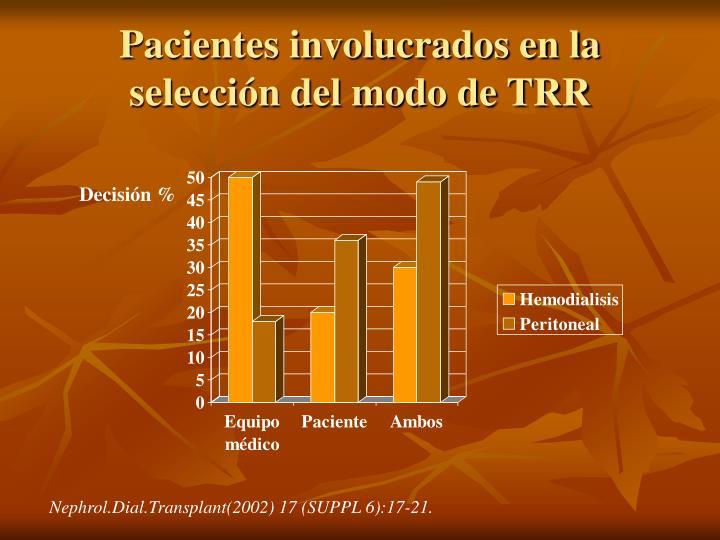 Pacientes involucrados en la selección del modo de TRR