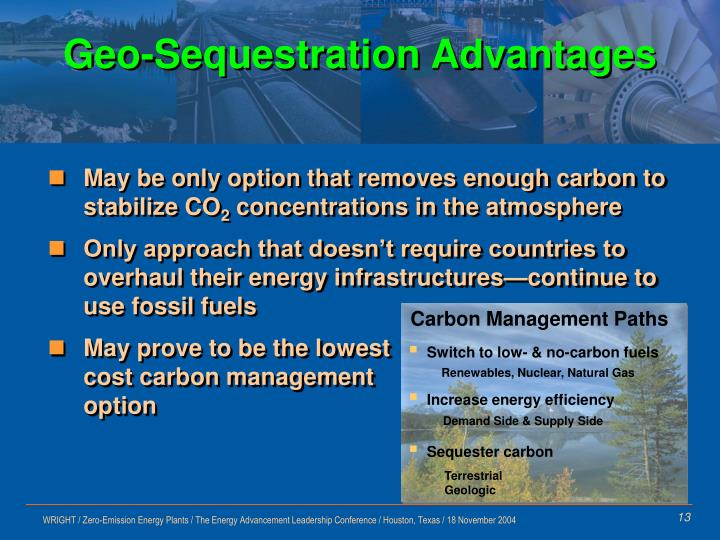Geo-Sequestration Advantages