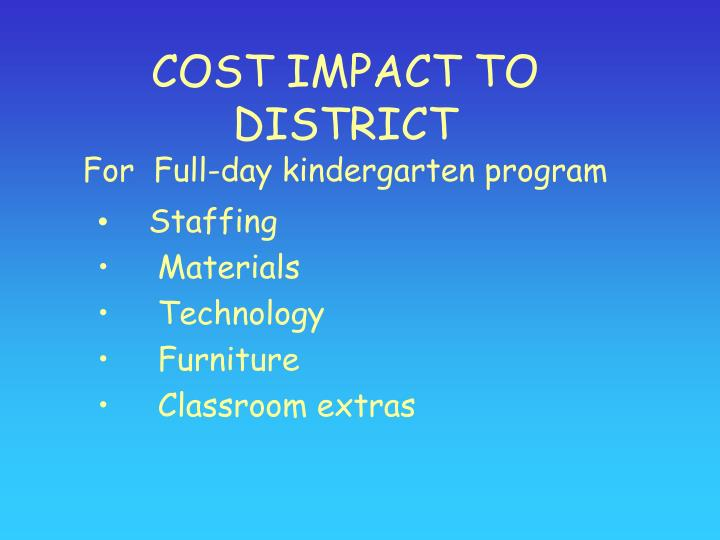 COST IMPACT TO