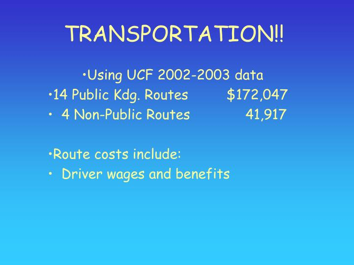 TRANSPORTATION!!