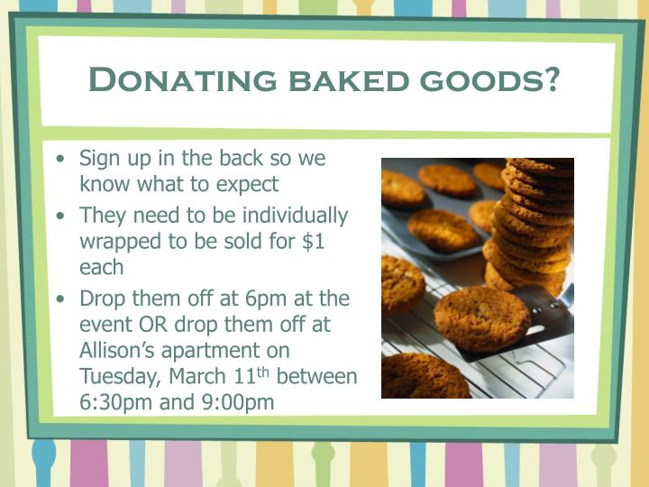 Donating baked goods?