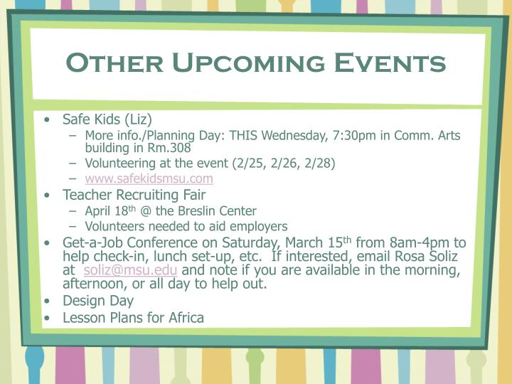 Other Upcoming Events