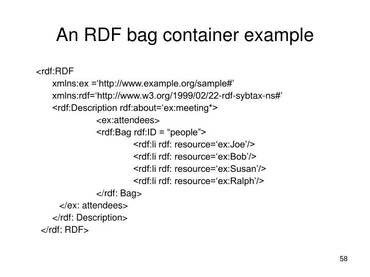 An RDF bag container example