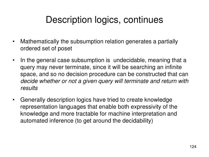 Description logics, continues
