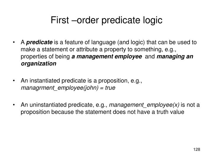 First –order predicate logic