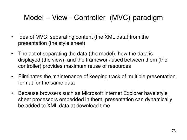 Model – View - Controller  (MVC) paradigm