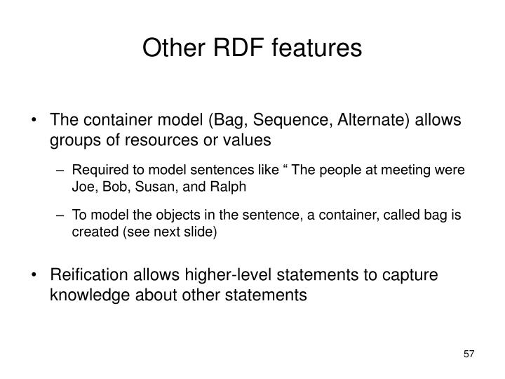 Other RDF features