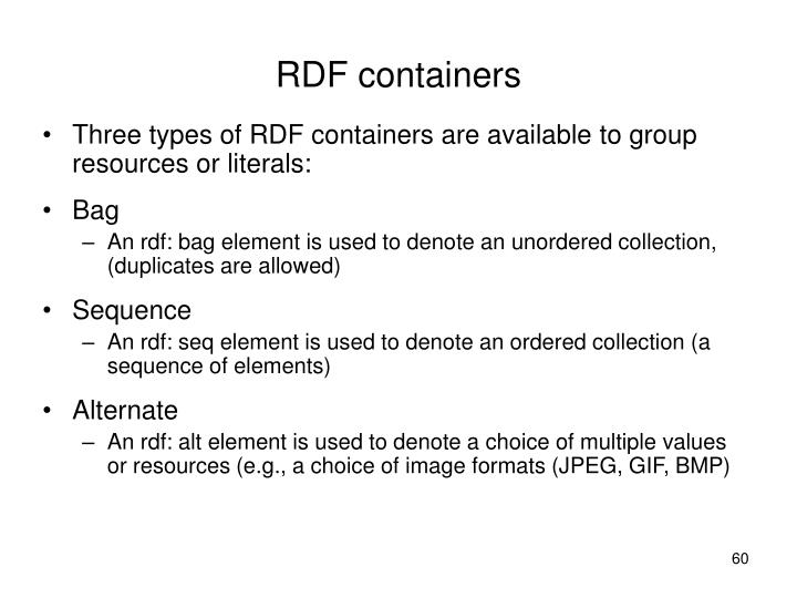 RDF containers