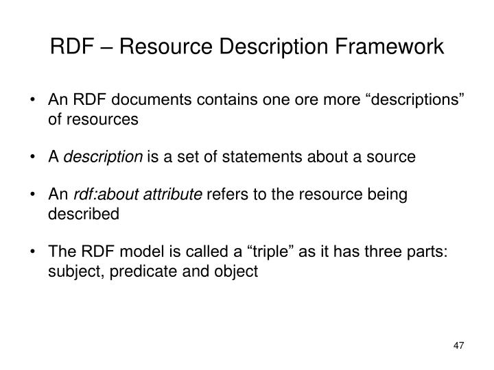 RDF – Resource Description Framework