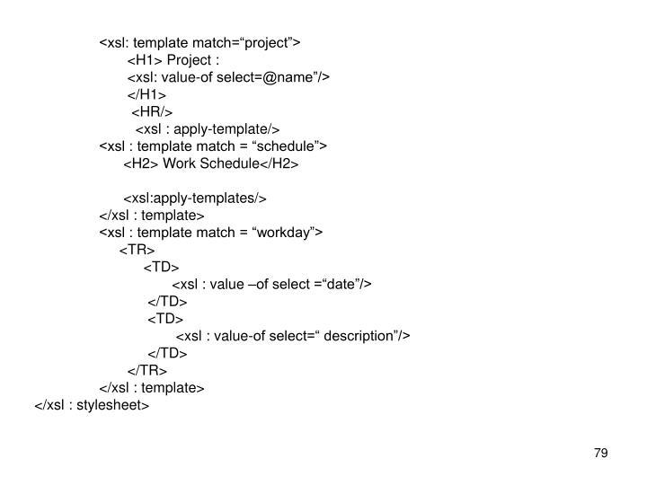 "<xsl: template match=""project"">"