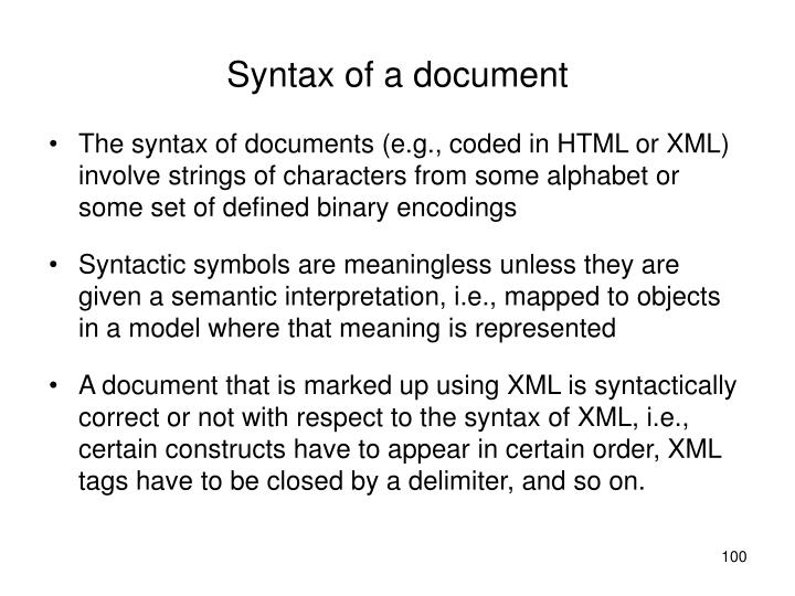 Syntax of a document