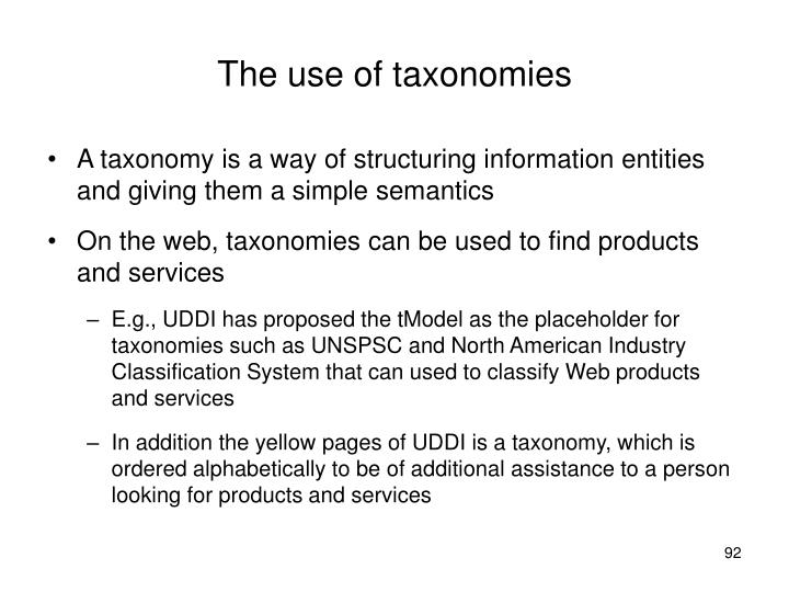 The use of taxonomies