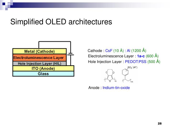 Simplified OLED architectures
