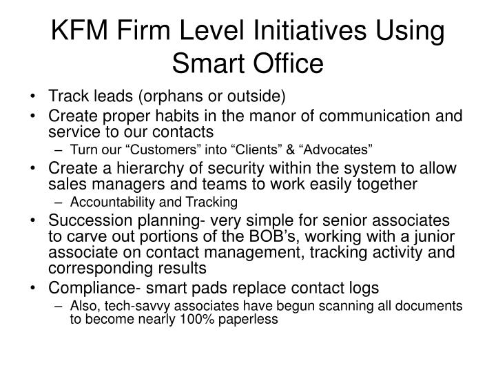 KFM Firm Level Initiatives Using Smart Office