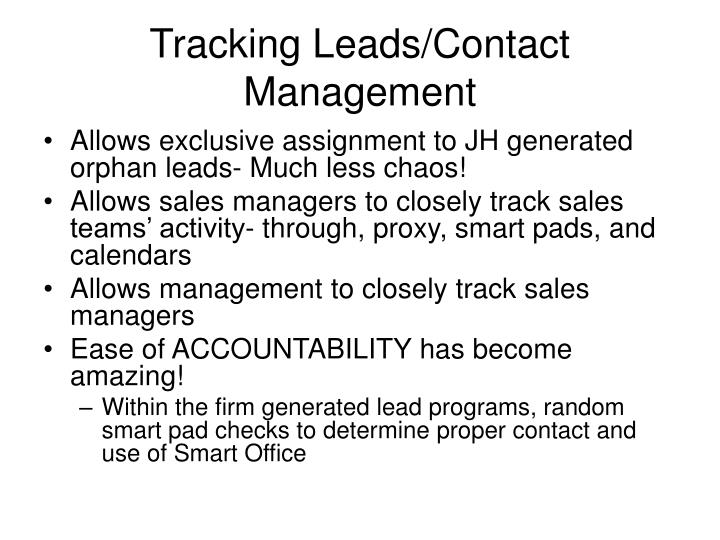 Tracking Leads/Contact Management