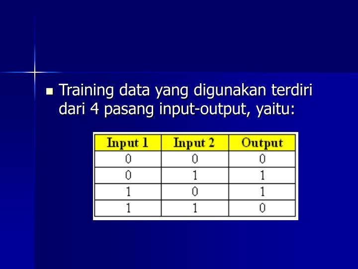 Training data yang digunakan terdiri dari 4 pasang input-output, yaitu: