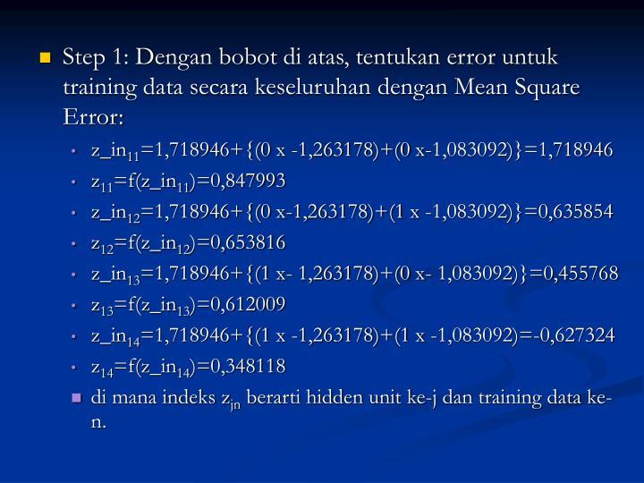Step 1: Dengan bobot di atas, tentukan error untuk training data secara keseluruhan dengan Mean Square Error: