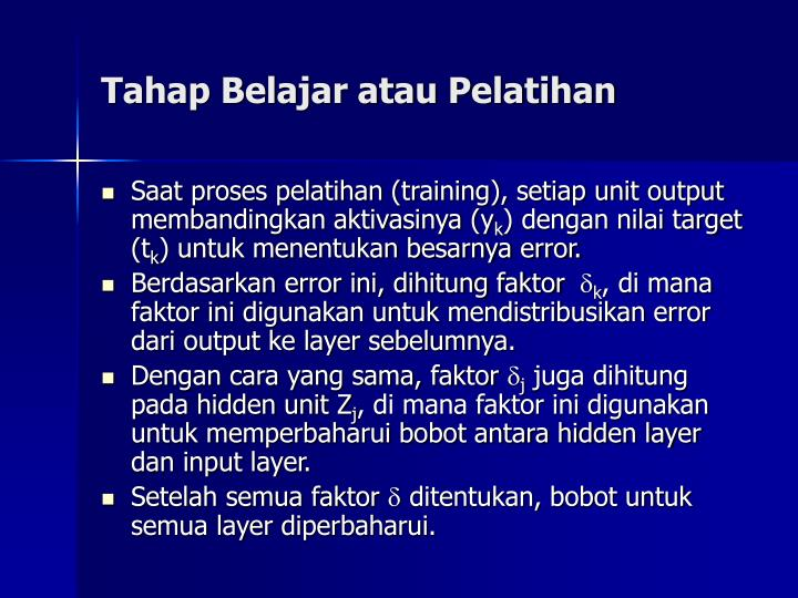 Tahap Belajar atau Pelatihan