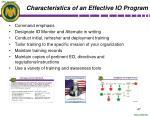characteristics of an effective io program