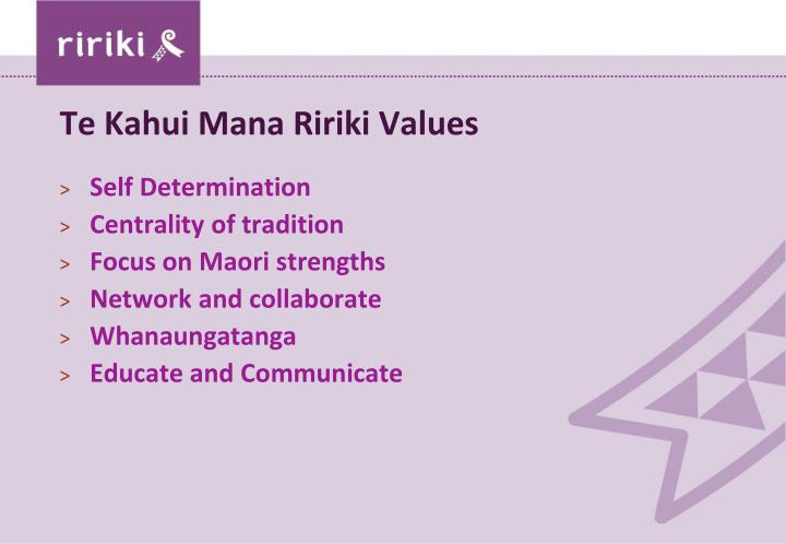 Te Kahui Mana Ririki Values